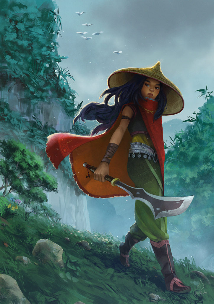 Fanart of Raya (from Raya and the Last Dragon) walking down the mountains